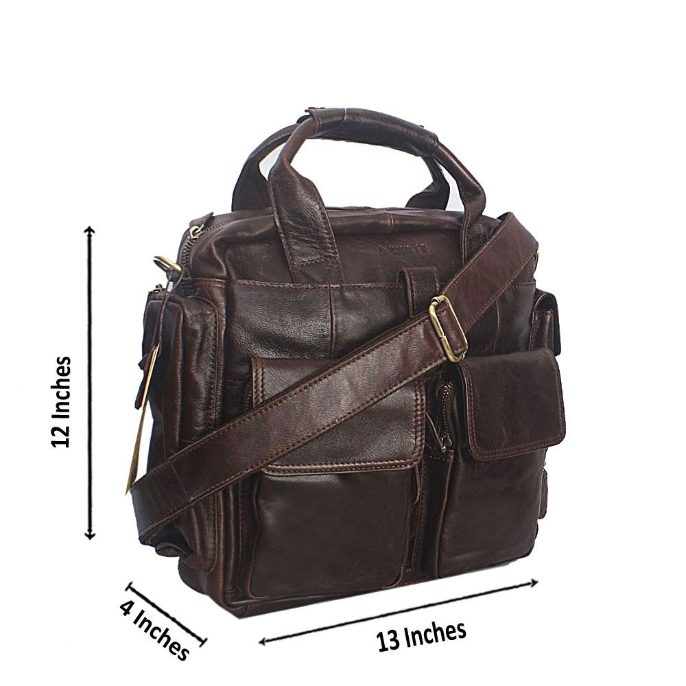 Coffee Leather Medium Messenger Bag