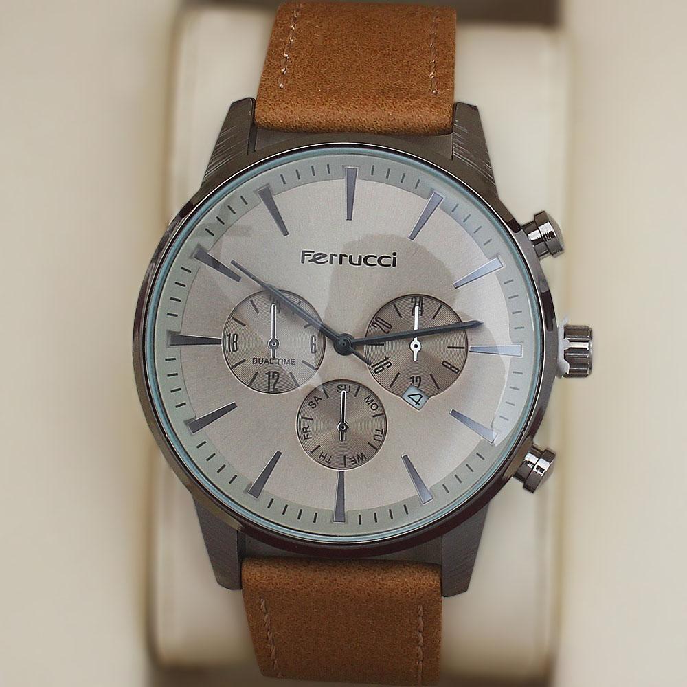 Ferrucci Silver Fashion Watch wt Nude Leather Strap