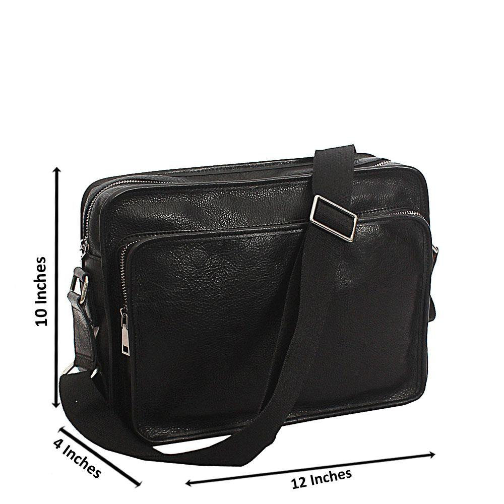 Black Doreen Top Grain Leather Messenger Bag