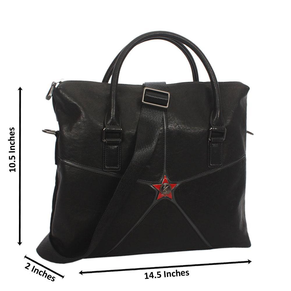 Black Star Side Leather Tote Man Bag