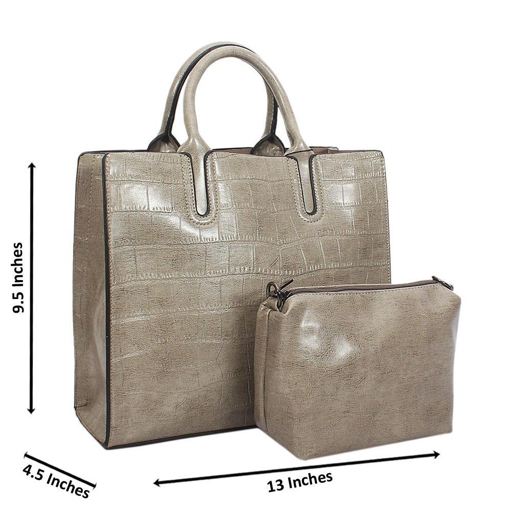 Gray Alice Croc Leather Tote Handbag