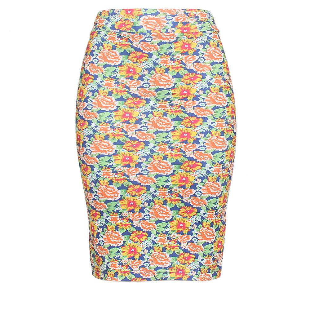 Multicolor Cotton Stretch Skirt