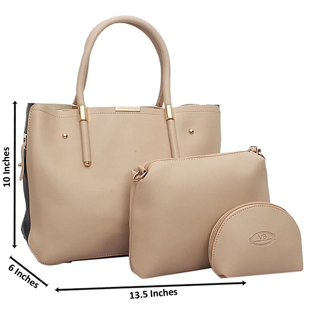 Camel Black  Leather 3 in 1 Handbag