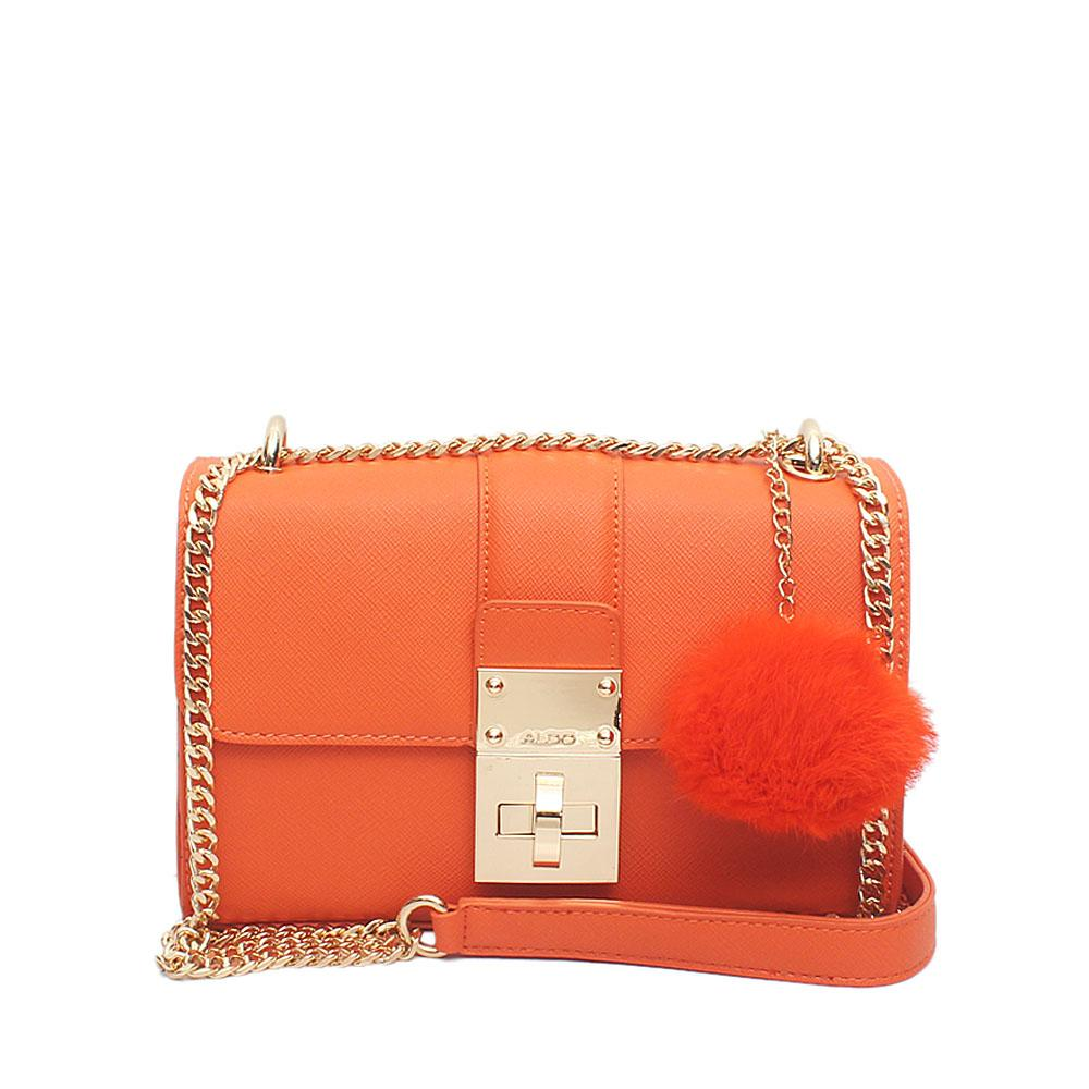 Orange Leather Small Cross Body Bag