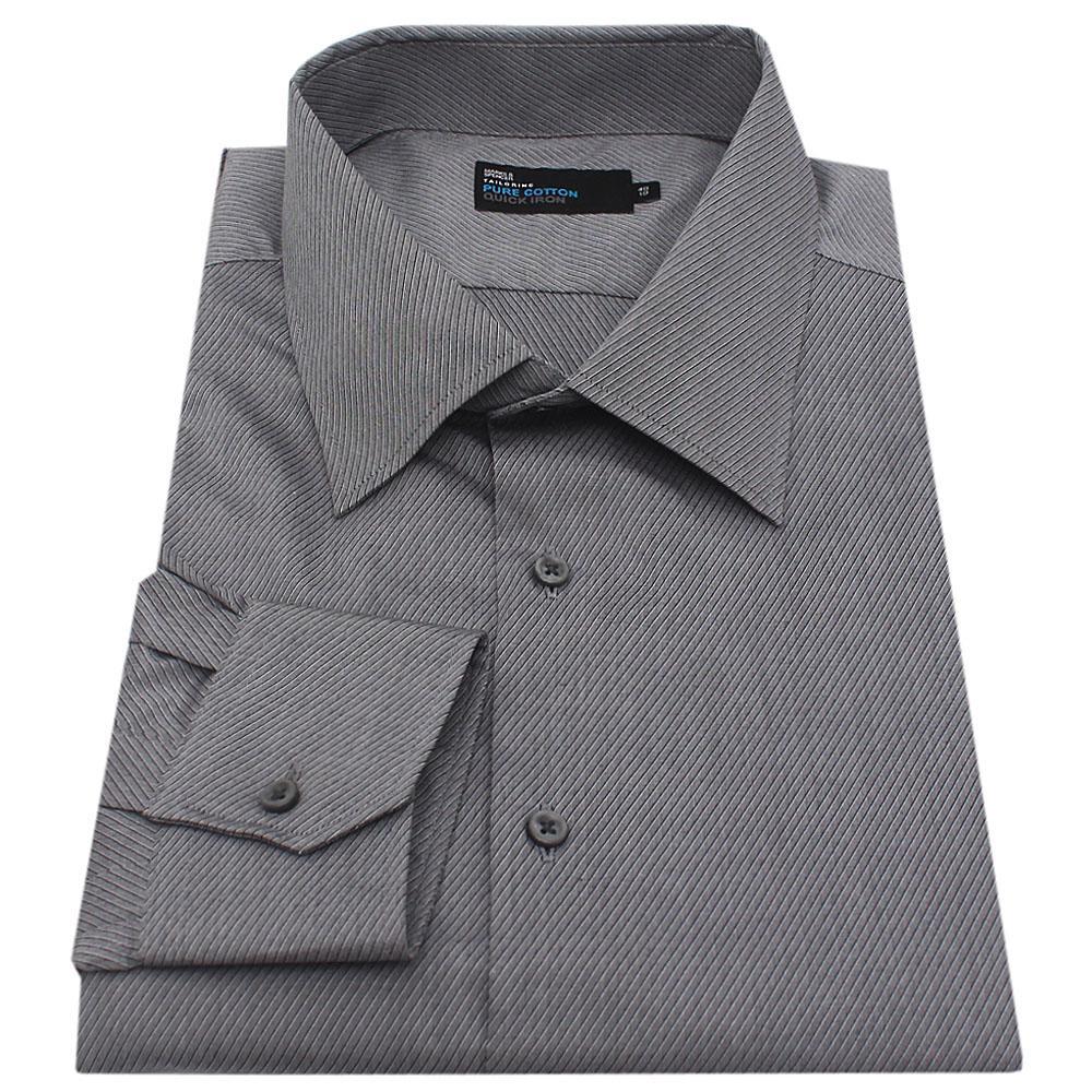 M & S Gray Black Stripe Pure Cotton L/Sleeve Tailored Fit Men Shirt
