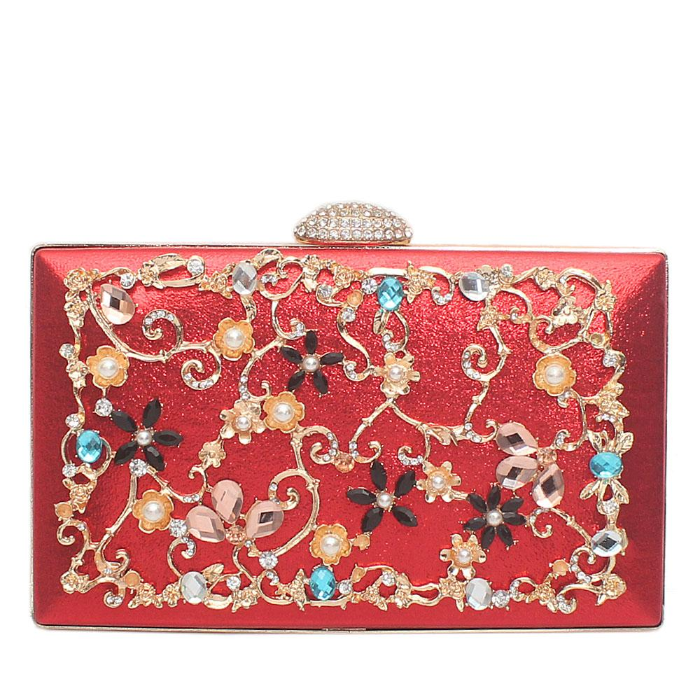 Red Glitz Studded Flat Clutch