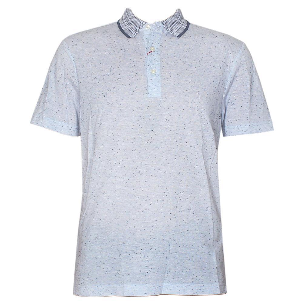 Collezione Bluish Gray Cotton Tailored Fit Men Polo