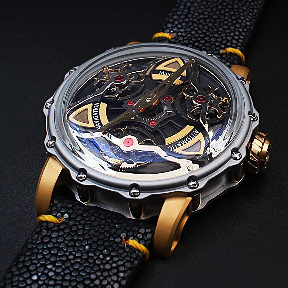 MaxLab Navigation Black Snake-Skin Strap Automatic Watch
