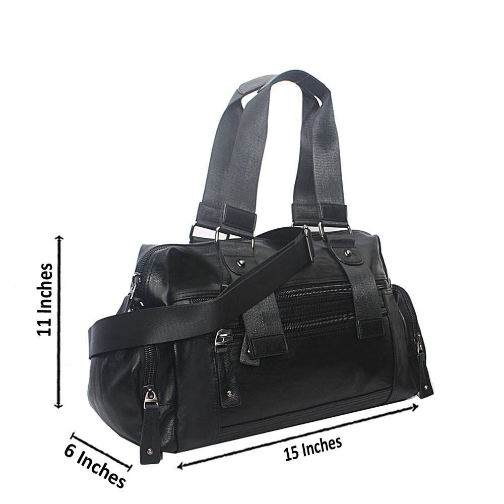 Casania Black Double Zip Overnight Travel Bag