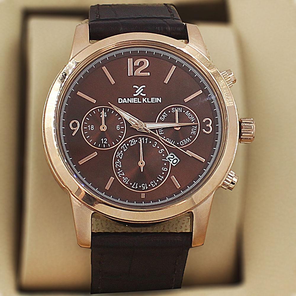 Daniel Klein Emilio  Brown Leather Fashion Series Watch