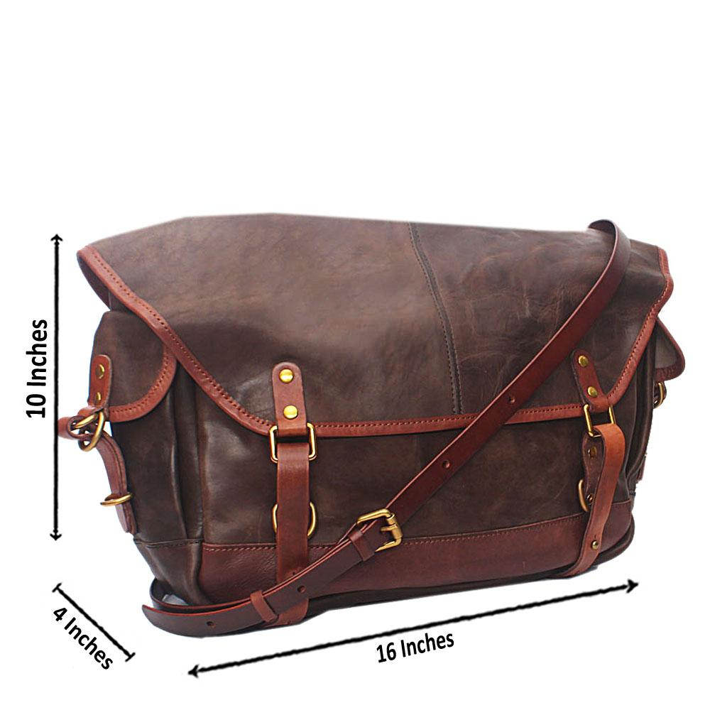 Virtigo Coffee Brown Cow-Leather Messenger Bag