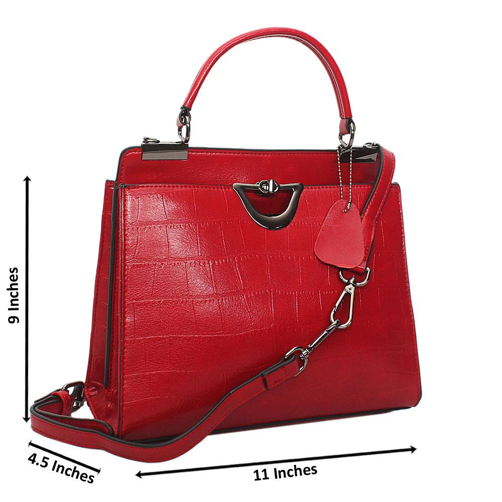 Red Croc Leather Small Top Handle Handbag