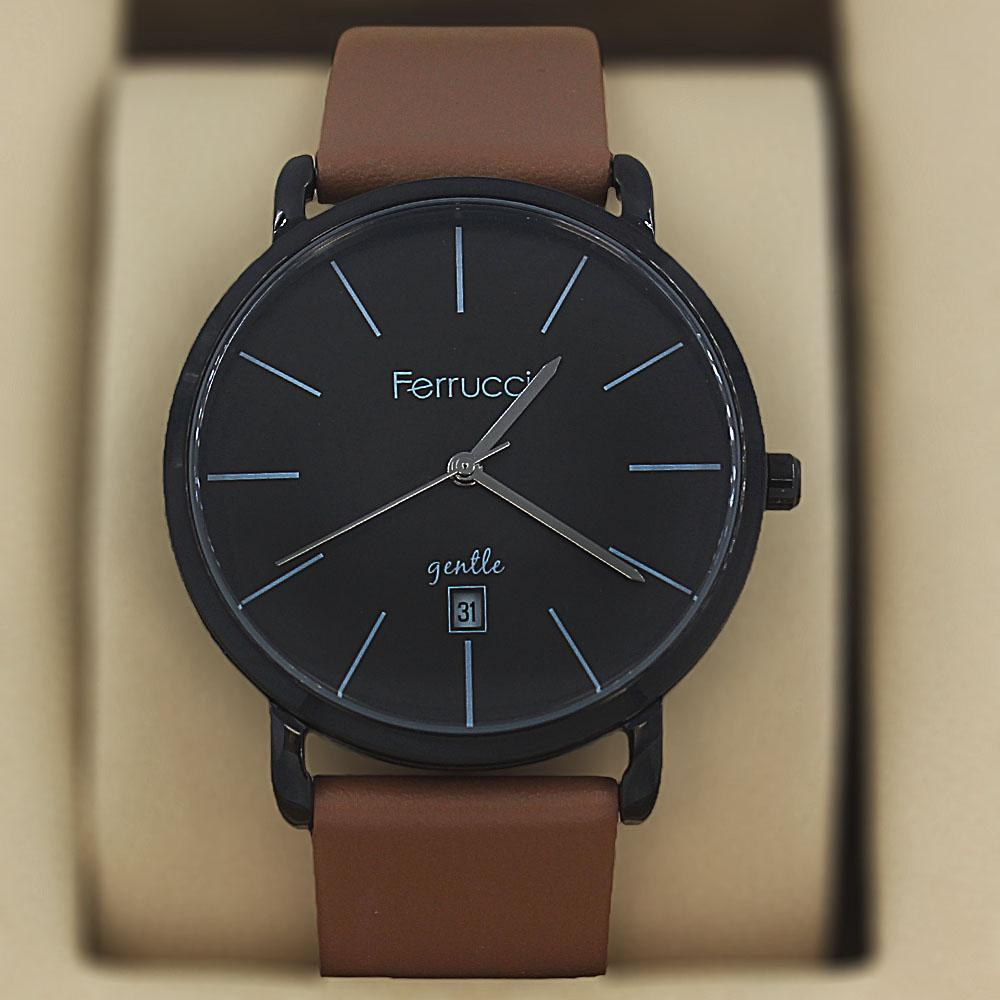 Ferrucci Gentle Brown Leather Flat Classic Series Watch
