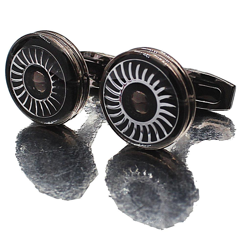 Black Wheel Stainless Steel Cufflinks