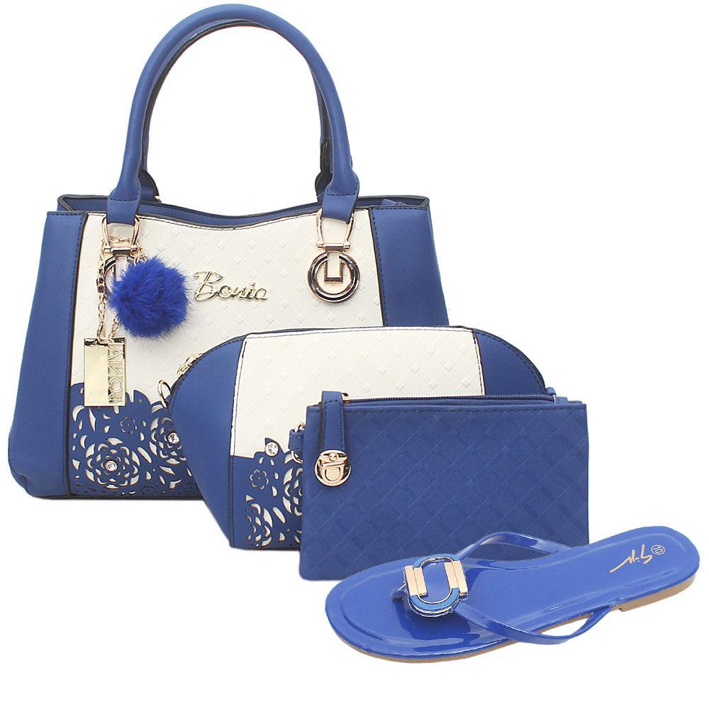 Bonia Blue White Leather 3 in 1 Bag