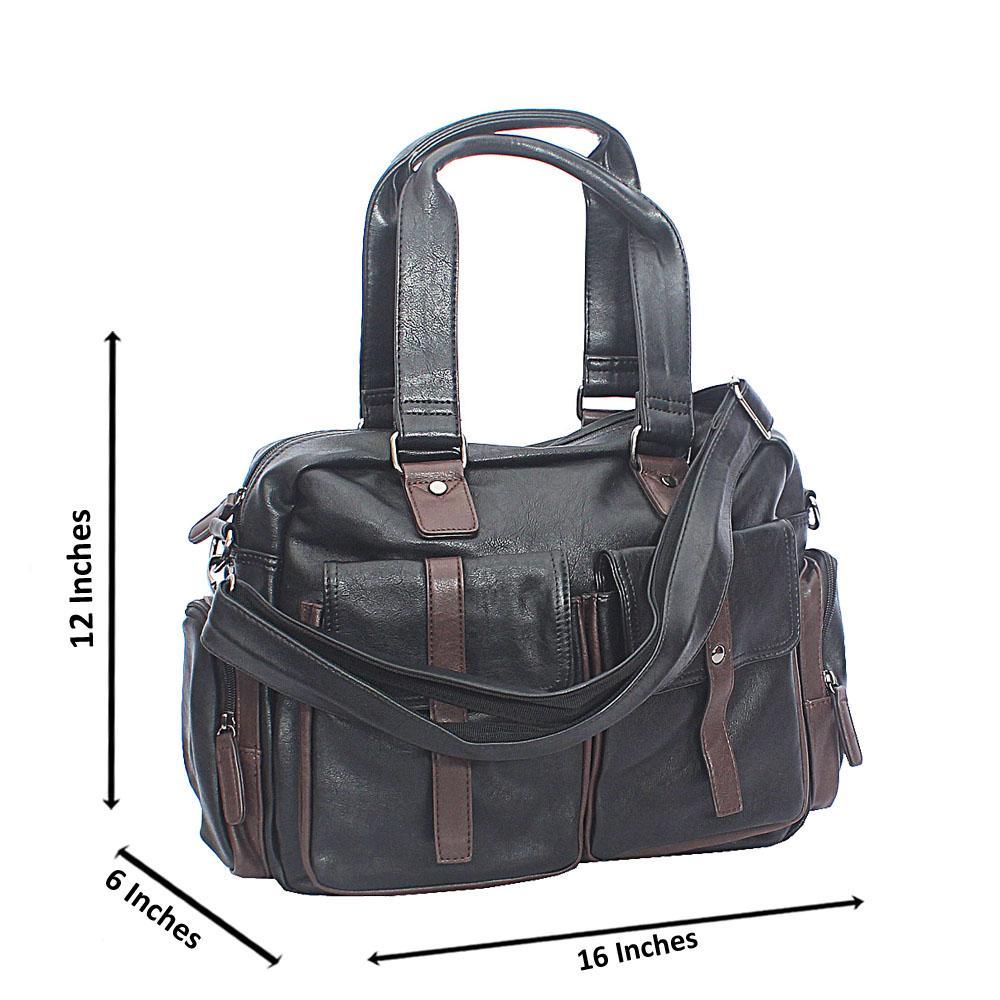 Pollito Black Brown Double Pocket Cassania Leather Man Bag
