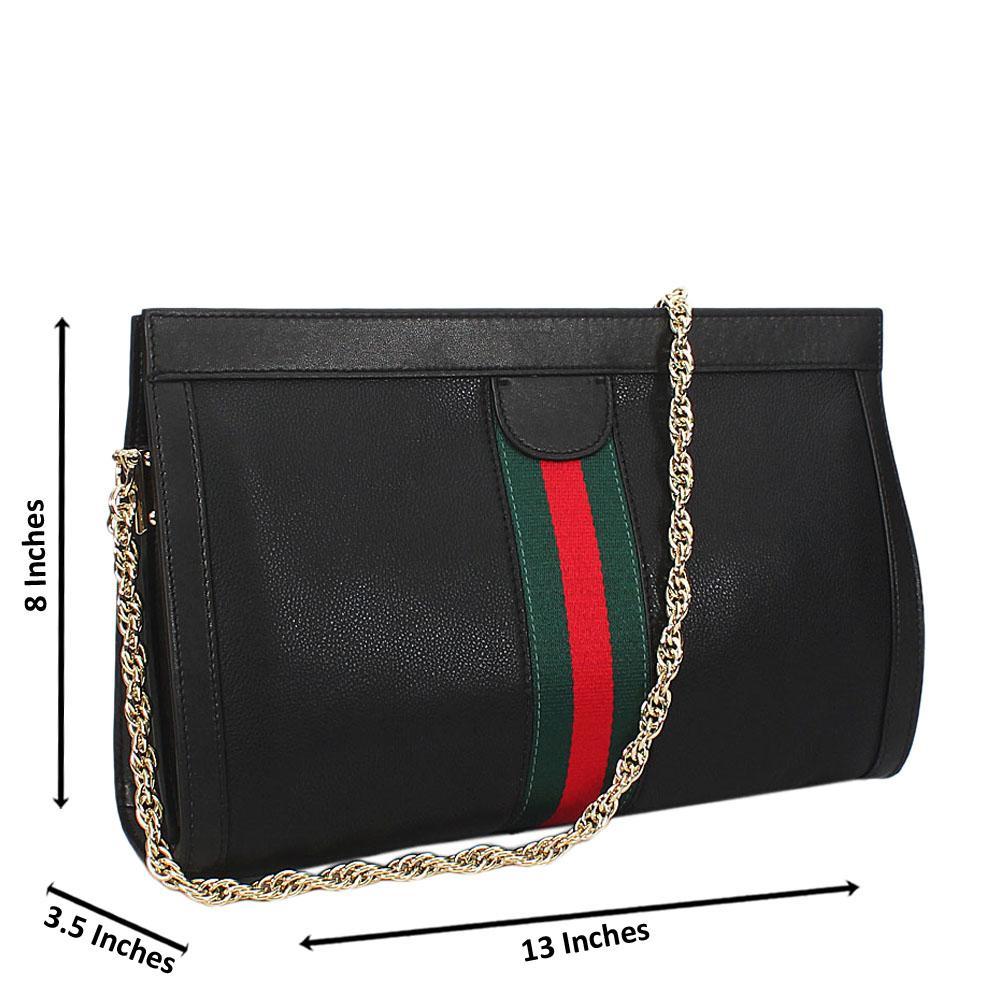 Black Ava Italian Leather Shoulder Handbag