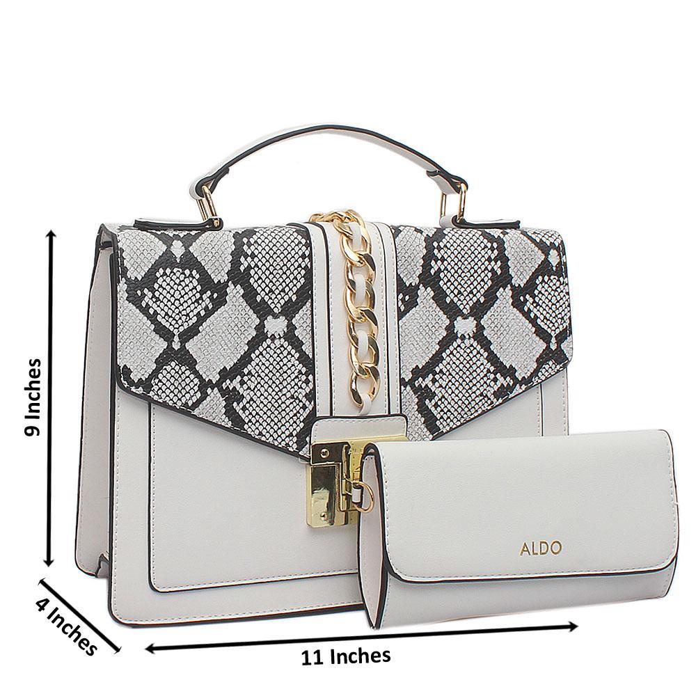White Black Leather Medium Aldo Bag