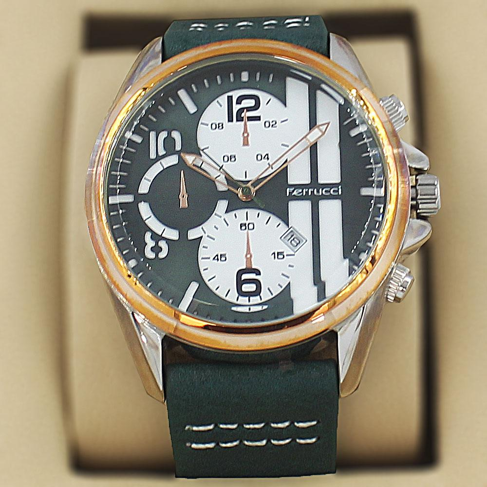 Ferrucci Enzo Green Leather Pilot Series Watch