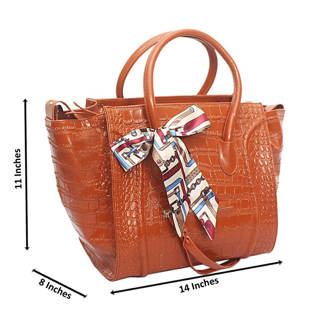 Brown Patent Skin Luggage Saffiano Leather Handbag