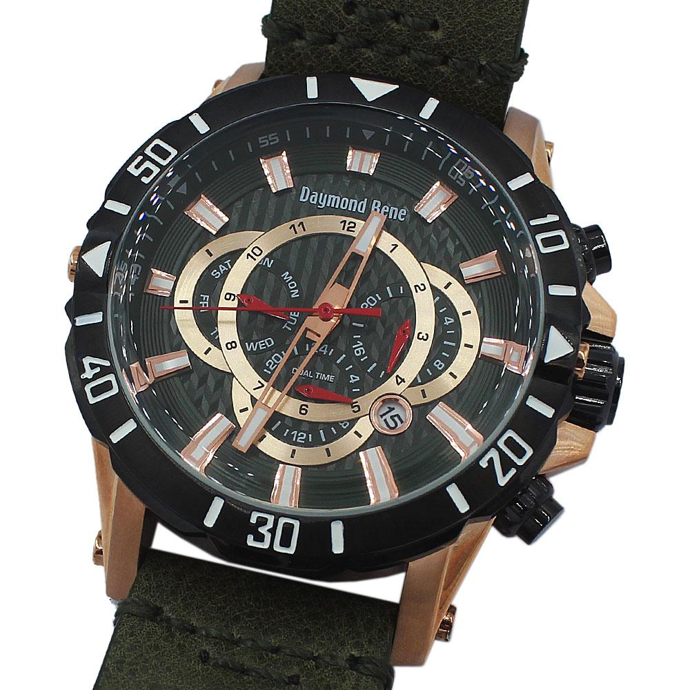 DR 10ATM Rose Gold Green Leather Chronograph Watch