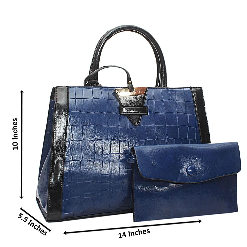 Blue Croc Leather Marcus Handbag