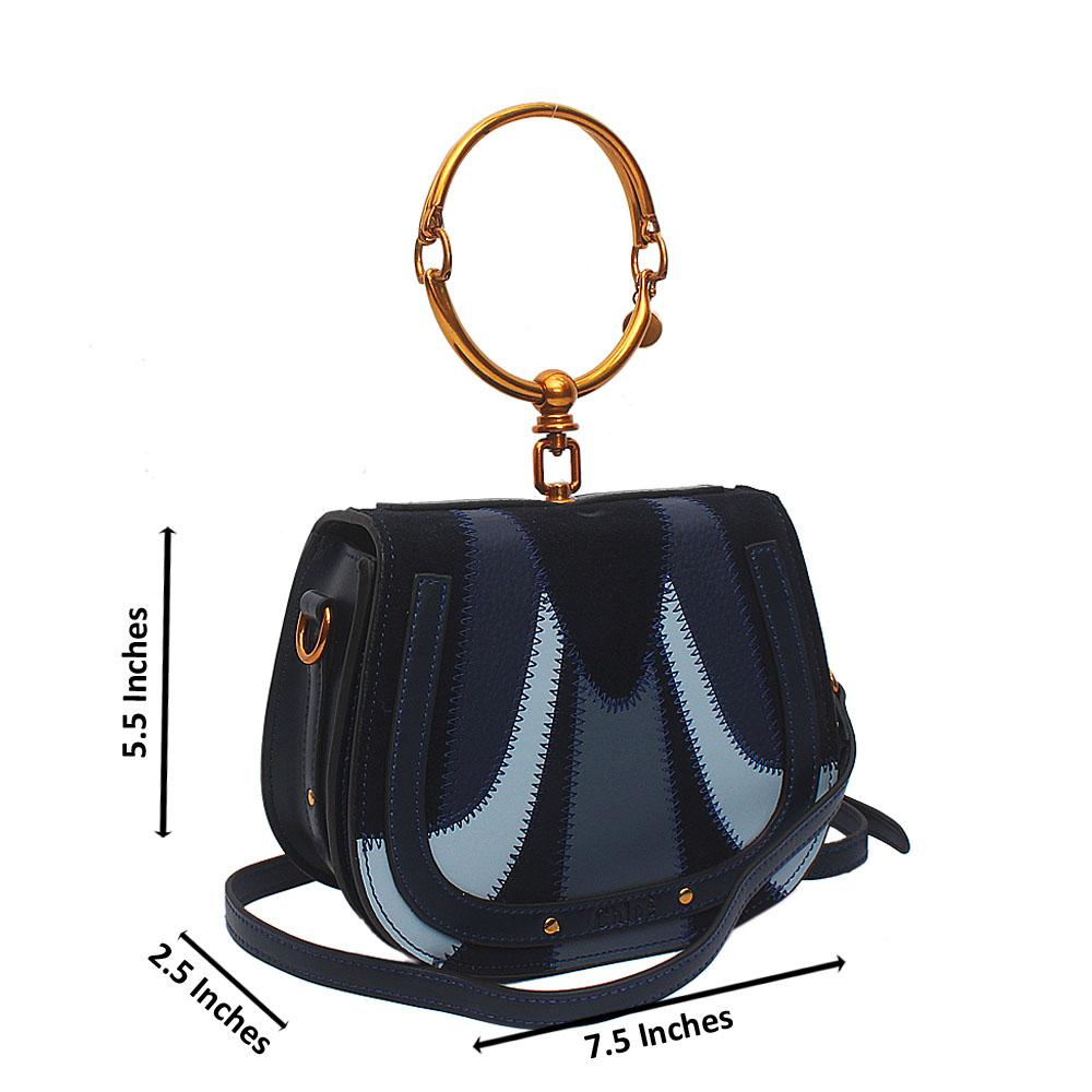 Navy Blue Saffiano Leather Small Mini Nile Bracelet Bag