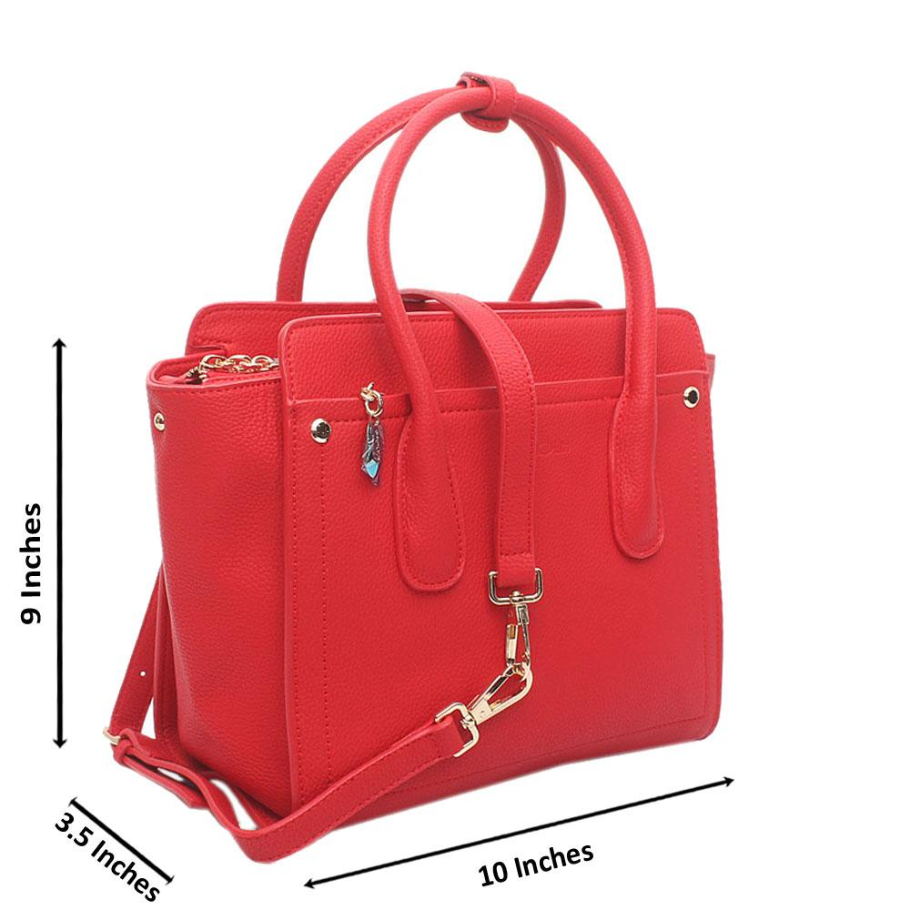 Red Utopia Medium Leather Tote Handbag