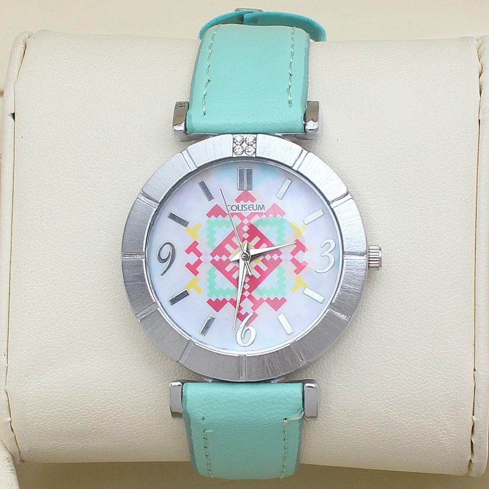 Coliseum Blossom Mint Leather Ladies Fashion Watch-
