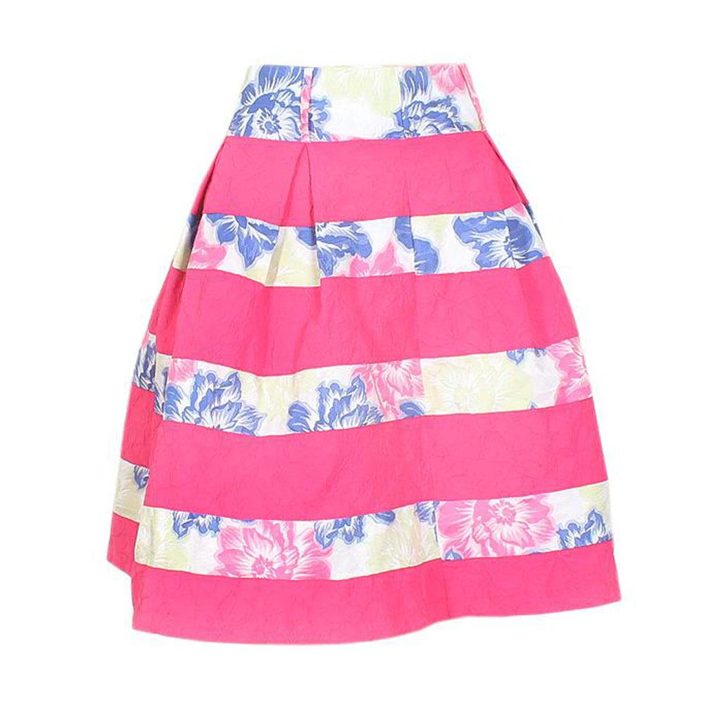 Fi'More Pink Floral Pleated Flare Skirt wt Inner Lining