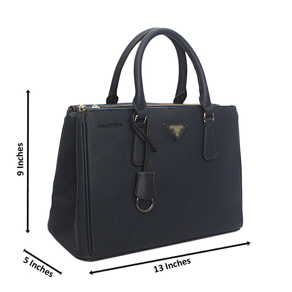 Navy Blue Leather Handbag
