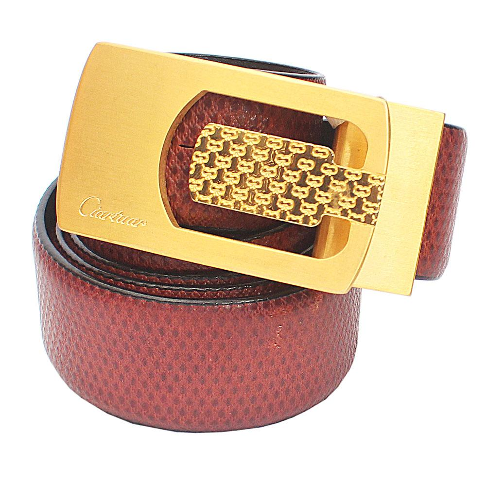 Brown Etched Italian Leather Belt L44