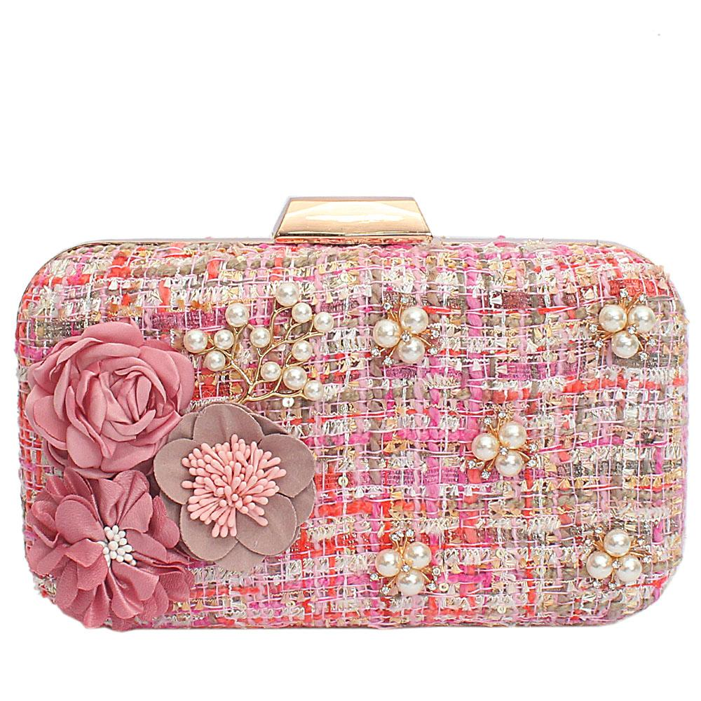 Peach Mix Fabric Woven Hard Clutch