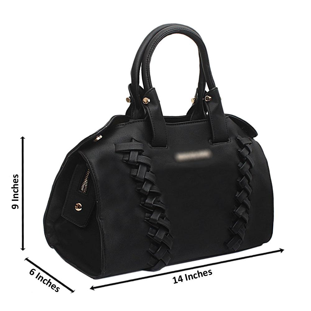 Black Leather Medium Attractive Handbag