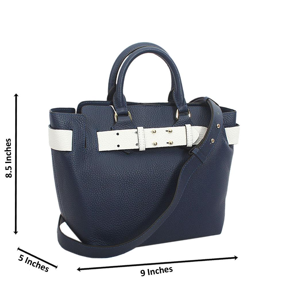 Navy Blue white Tuscany Leather Medium Belt Tote Handbag