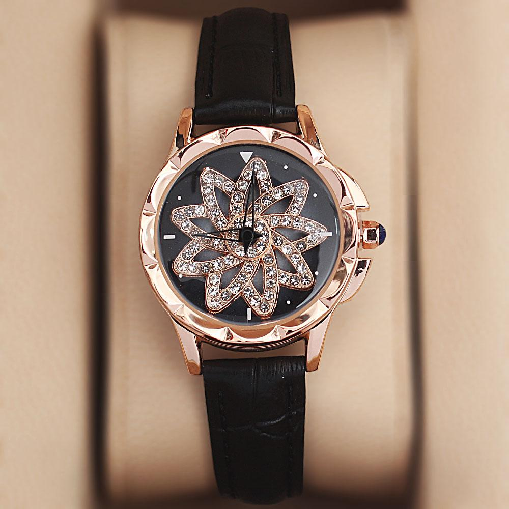 Gold Black Crystal Studded Leather Spinners Ladies Watch