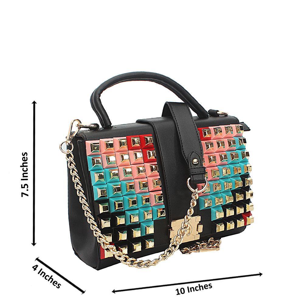 Black Rosie Studded Tuscany Leather Top Handle Handbag