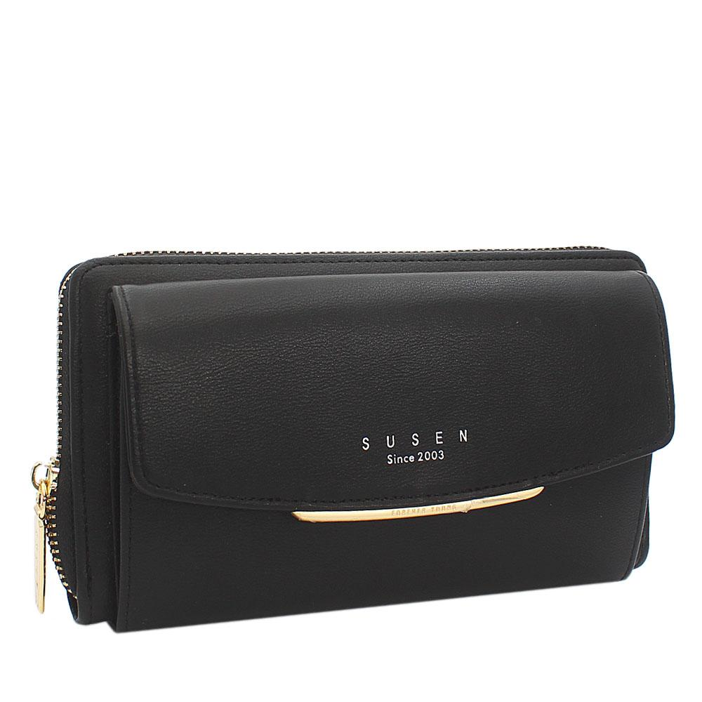 Susen Black Panamera Leather Ladies Wallet