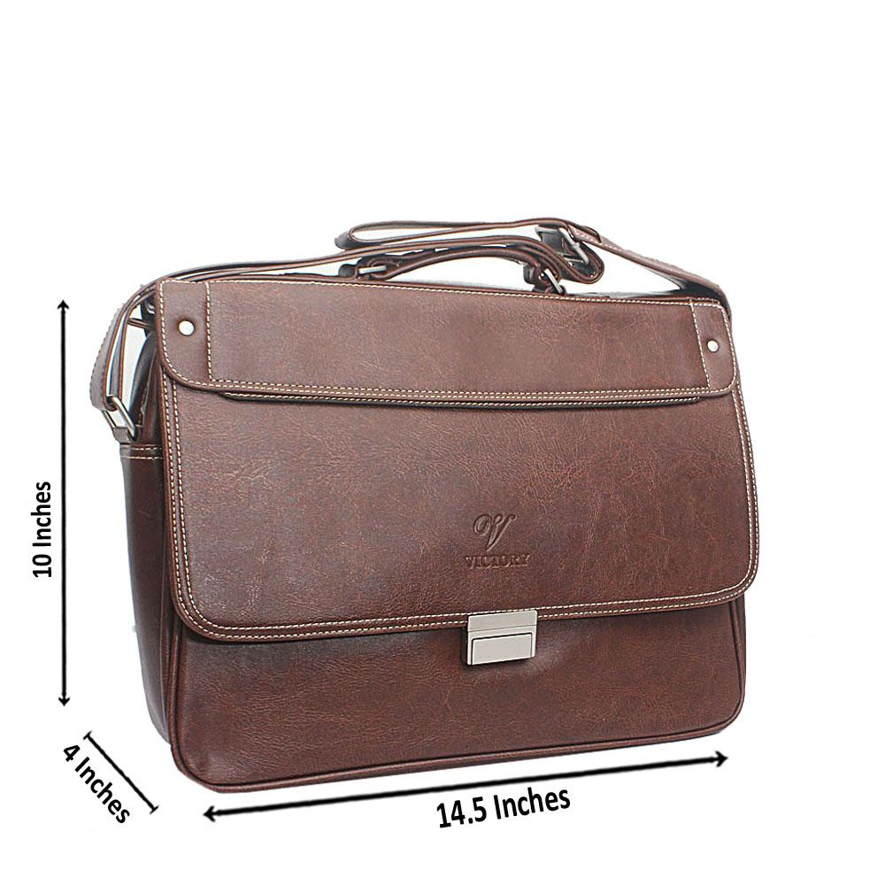 Brown Clip Leather Messenger Bag