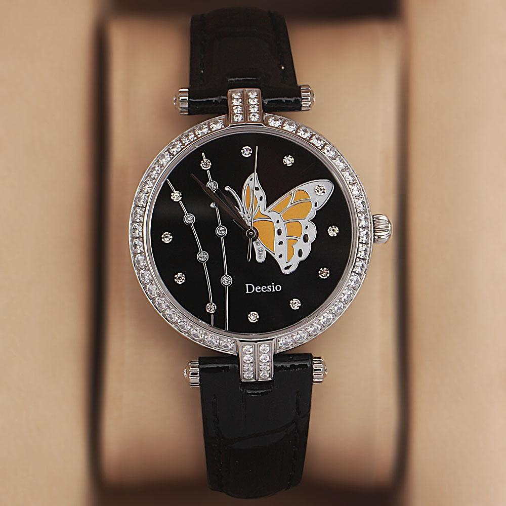Deesio Black Studded Butterfly Leather Ladies Watch