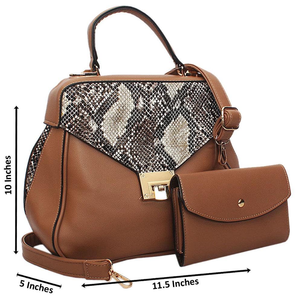 Brown Snake Styled Leather Small Top Handle Handbag