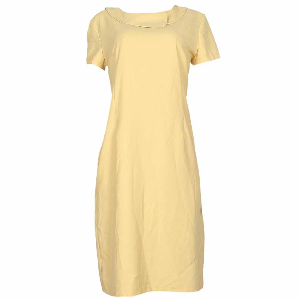 Gowend Yellow Cotton Ladies Dress-50