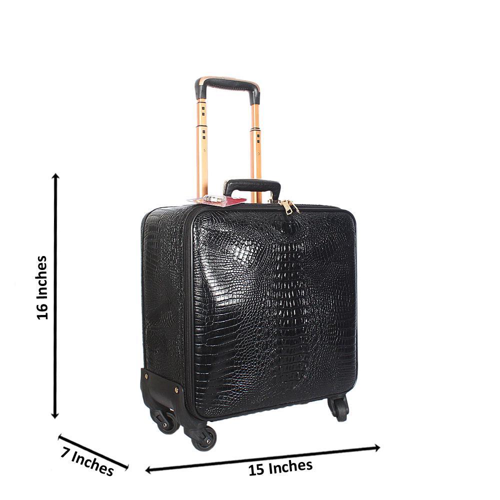 Black Croc 16 Inch Leather Pilot Suitcase Wt Lock