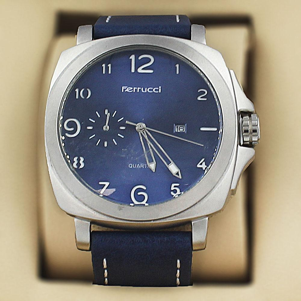 Ferrucci Panorama Blue Leather Fashion Series Watch