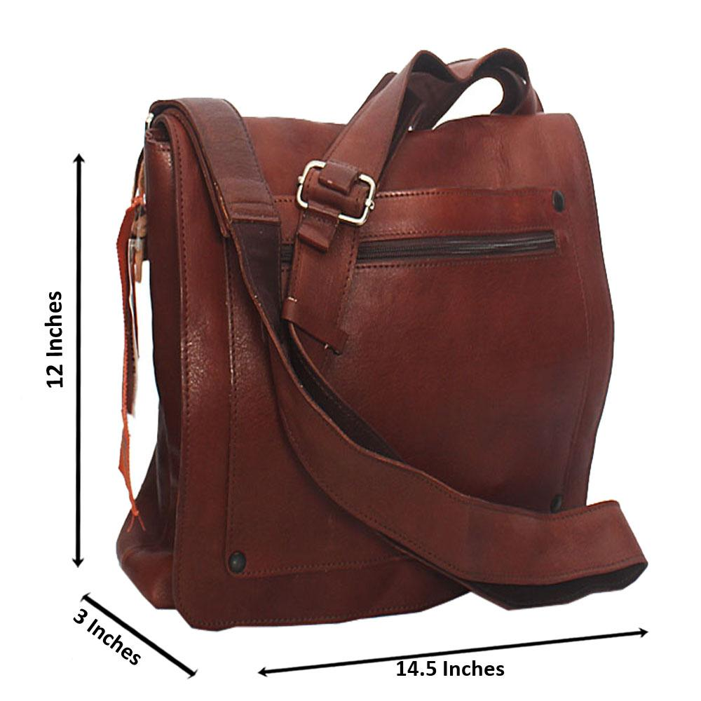 Jost Brown Quadro Leather Messanger Bag