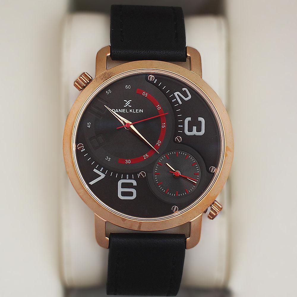 Daniel Klein Frisco Multifunction Watch wt Black Leather Strap