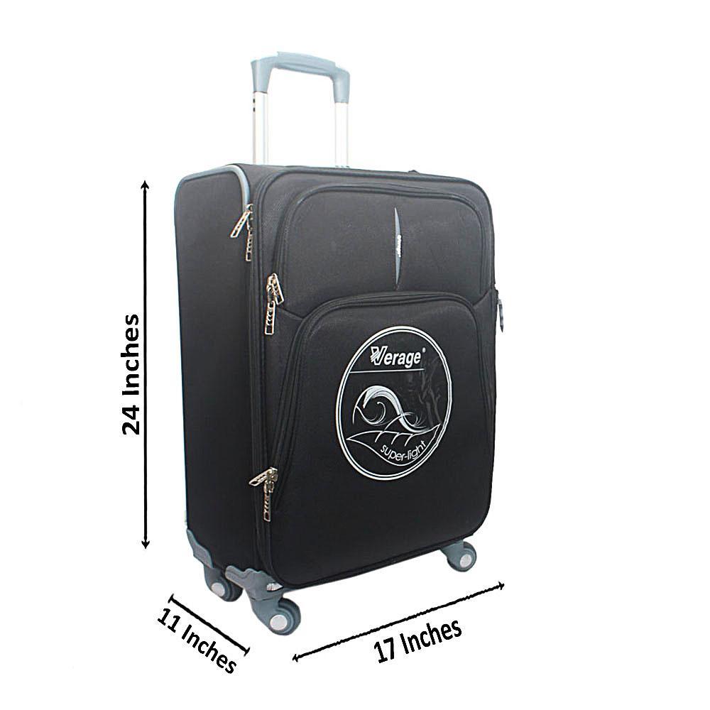 """Verage Black 24"""""""" Premium Fabric Suitcase"""