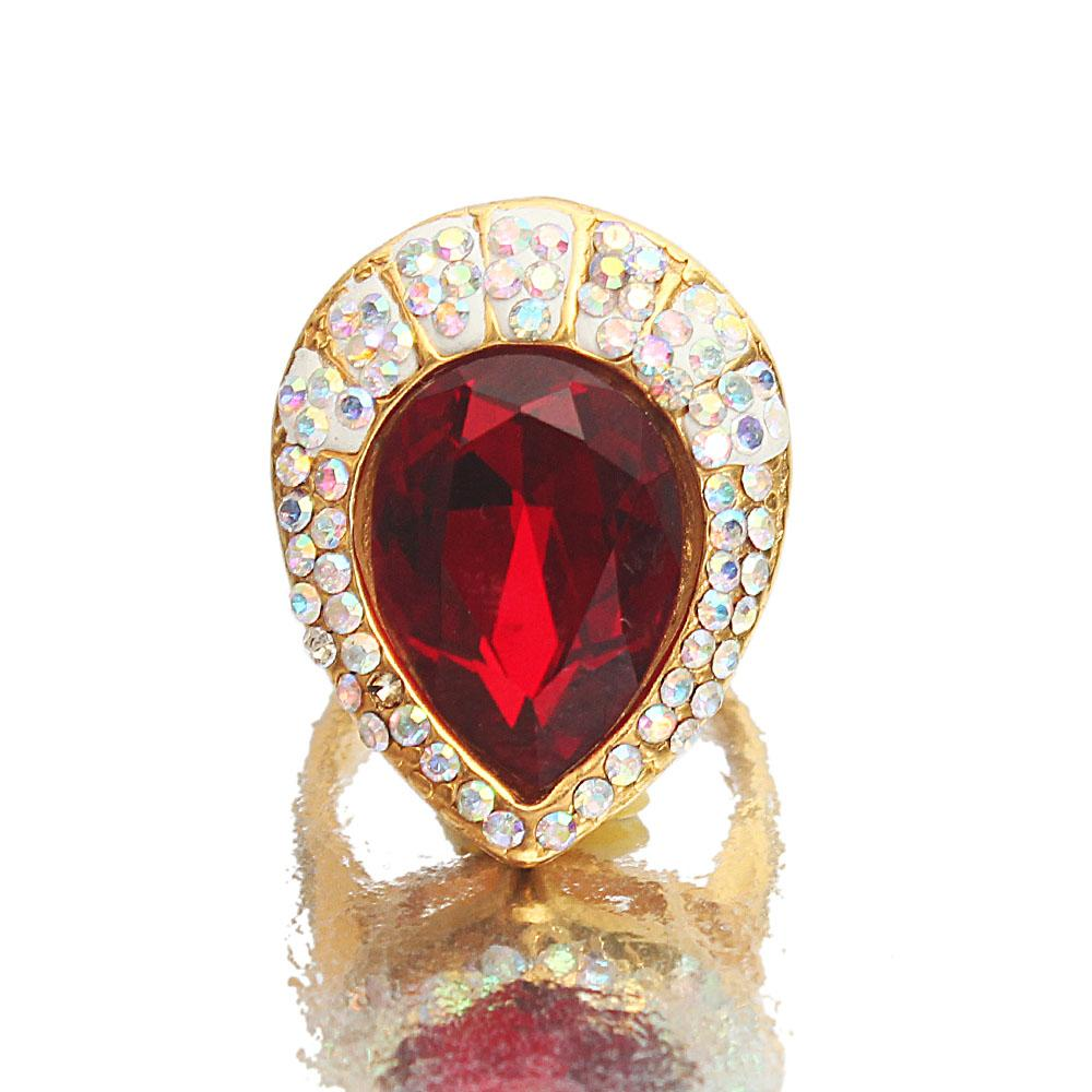 Gold Red Crystal Studded Steel Ladies Ring