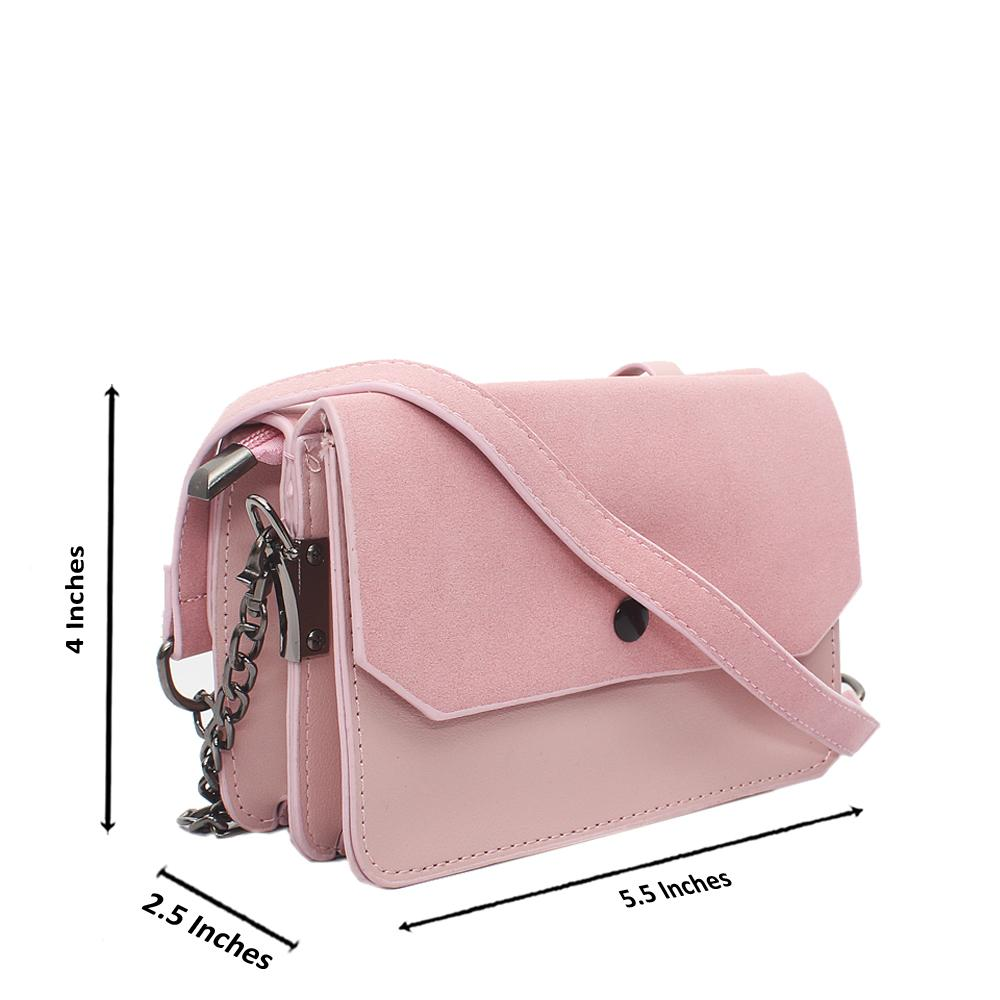 Pink Leather Mini Crossbody Bag