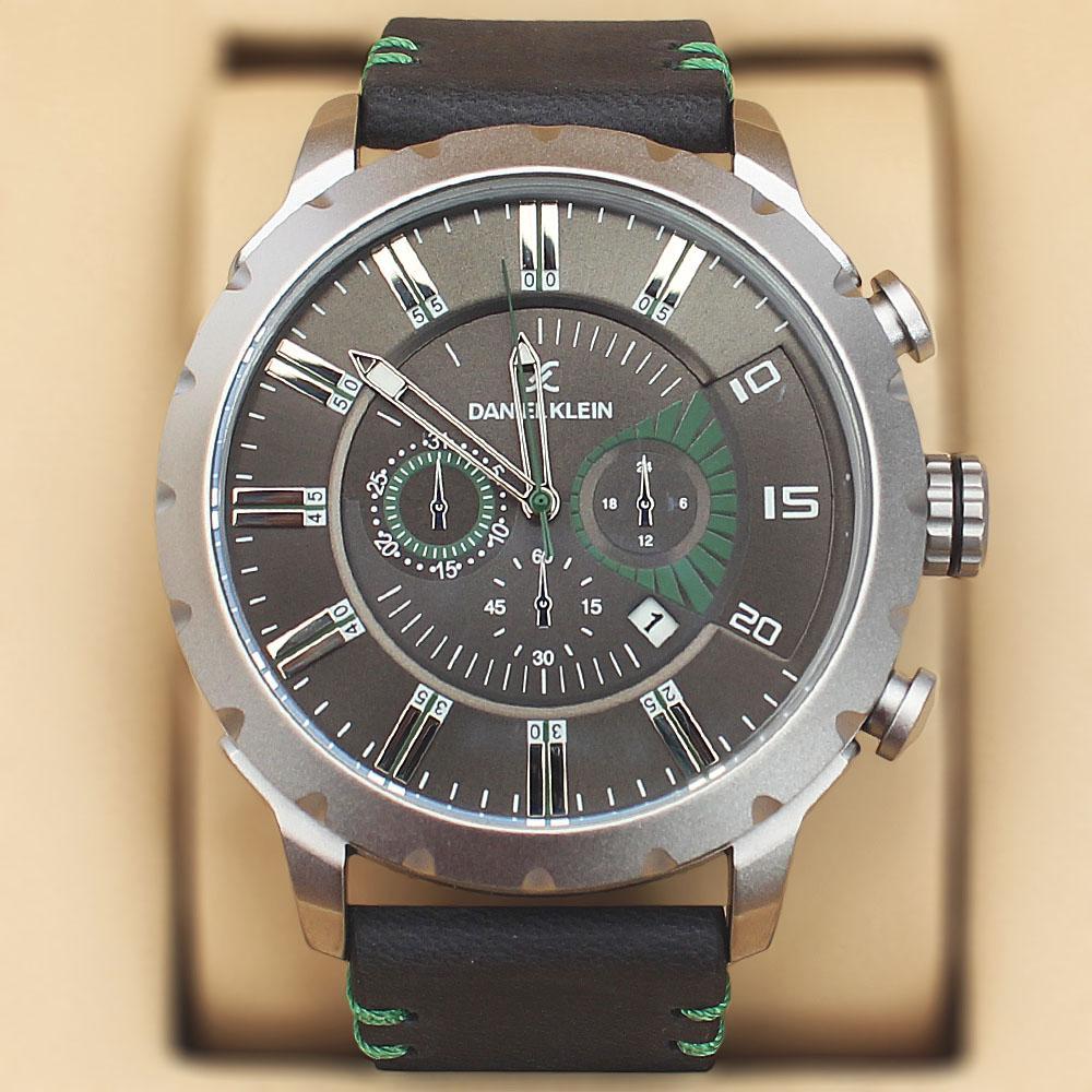 Daniel Klein Nubuck Black Wt Green Leather Sport Series Watch